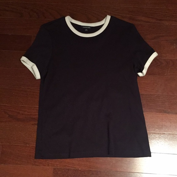 Lands' End Tops - Land's End Navy and white cropped top